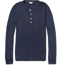 Schiesser Long Sleeved Cotton Jersey Henley T Shirt Blue