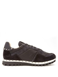 Valentino Rockrunner Suede And Canvas Trainers Black Multi