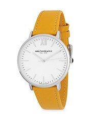 Bruno Magli Stainless Steel Water Resistant Slim Leather Strap Watch Silver