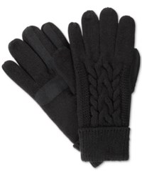 Isotoner Signature Solid Triple Cable Knit Palm Smartouch Tech Gloves Black