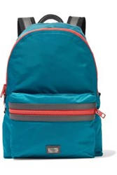 Dolce And Gabbana Textured Leather Trimmed Shell Backpack Teal