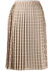 Burberry Contrast Graphic Print Pleated Skirt Neutrals