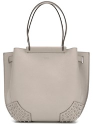 Tod's Logo Embossed Tote Nude Neutrals