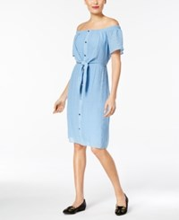 Thalia Sodi Off The Shoulder Tie Waist Dress Created For Macy's Chambray