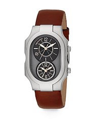 Philip Stein Teslar Signature Dual Time Stainless Steel And Calf Leather Strap Watch Chocolate