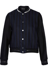 Maje Geddy Striped Leather Trimmed Wool Blend Jacket Blue