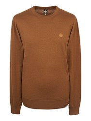 Pretty Green Men's Mandeville Crew Neck Jumper Light Brown