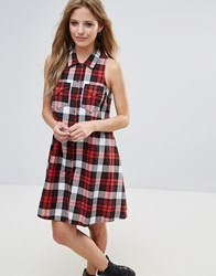 Noisy May A Line Check Shirt Dress Brgt Wht W Red Check