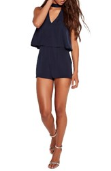 Missguided Women's Choker Neck Double Layer Romper Navy