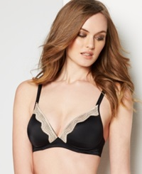 Warner's Elements Of Bliss Wireless Lift And Lace Bra Ro1981a Black W Toasted Almond