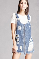 Forever 21 Destroyed Denim Overall Dress