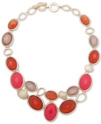 Anne Klein Gold Tone Colored Stone Statement Necklace