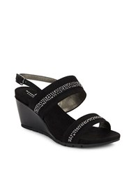 Bandolino Greedson Embellished Wedge Sandals Black