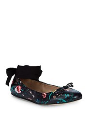 Saks Fifth Avenue Floral Leather Ballet Flats