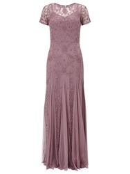 Adrianna Papell Floral Beaded Gown Dusty Pink