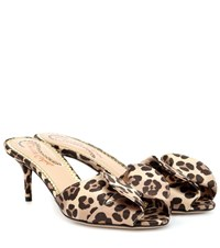 Charlotte Olympia Satin Leopard Printed Mules Brown