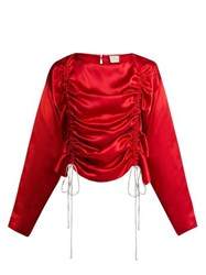 Hillier Bartley Ruched Silk Satin Blouse Red
