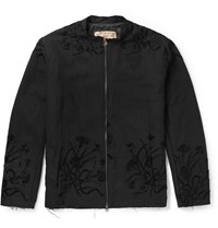 By Walid Silk Embroidered Cotton Bomber Jacket Black