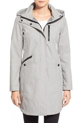 Kristen Blake Petite Women's Crossdye Hooded Soft Shell Jacket Regular And Petite Light Grey