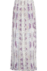 Roberto Cavalli Kiran Pleated Silk Georgette Maxi Skirt Purple