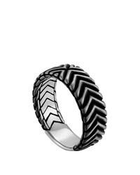 Men's Bedeg Triangle Line Pattern Band Ring John Hardy Silver