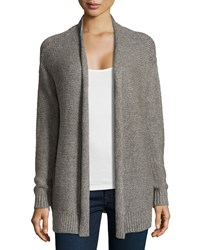 Halston Collier Chain Knit Cardigan Heather Taupe