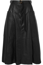 Nili Lotan Lila Belted Leather Midi Skirt Black