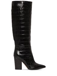 Sergio Rossi 90Mm Croc Embossed Leather Boots Black