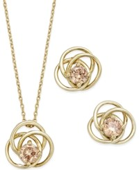 City By City Gold Tone Pink Crystal Love Knot Pendant Necklace And Matching Stud Earrings Set