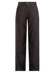 Simon Miller Toma Wide Leg Linen Trousers Black