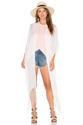 Michael Stars Fringed Out Long Cape White