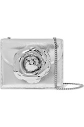 Oscar De La Renta Tro Mini Embellished Metallic Textured Leather Shoulder Bag Silver
