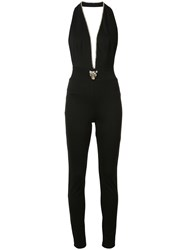 Philipp Plein Deep V Neck Jumpsuit Women Cotton Polyester Spandex Elastane Viscose S Black