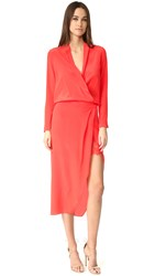 Michelle Mason Long Sleeve Wrap Dress With Lace Slip Poppy