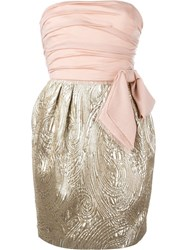 Emilio Pucci Vintage Strapless Bow Dress Pink And Purple