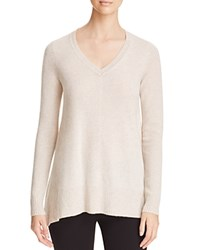 Bloomingdale's C By Arched Hem Cashmere Sweater Heather Oatmeal