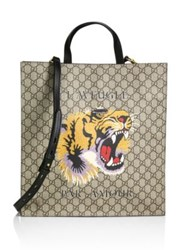 Gucci Gg Supreme Tiger Tote Beige Multicolor