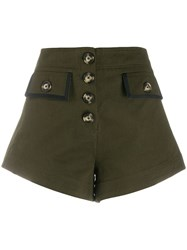 Self Portrait Buttoned Wide Leg Shorts Green