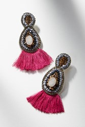 Anthropologie Raquel Fringe Drop Earrings Purple Motif