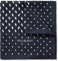 Mulberry Leaf Print Silk Twill Pocket Square Blue