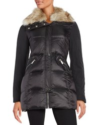 French Connection Faux Fur Collar Puffer Coat Black