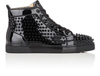 Christian Louboutin Men's Louis Orlato Flat Patent Leather Sneakers Black