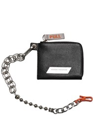 Heron Preston Leather Wallet W Detachable Chain Black