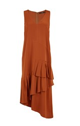 Tibi Silk V Neck Ruffle Dress