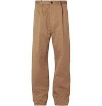 Balenciaga Wide Leg Cotton Blend Chinos Sand