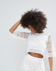 Darling Crochet Lace Cropped Top White