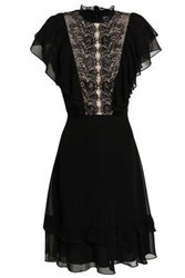 Mikael Aghal Woman Lace Paneled Ruffled Crepe De Chine Dress Black