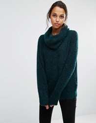Selected Sille Knitted Jumper With Roll Neck Bottle Green