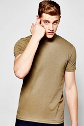 Boohoo Short Sleeve Muscle Fit Turtle Neck T Shirt Khaki