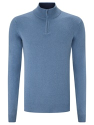 John Lewis Made In Italy Cashmere Zip Neck Jumper Steel Blue